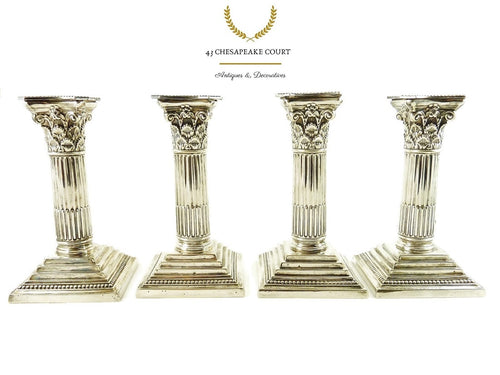 Antique Corinthian Column Candlesticks or Candle Holders, Set of Four by Mappin & Web - 43 Chesapeake Court Antiques