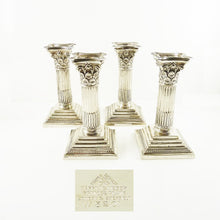 Load image into Gallery viewer, Antique Corinthian Column Candlesticks or Candle Holders, Set of Four by Mappin & Web - 43 Chesapeake Court Antiques