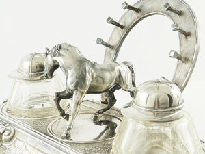 Antique Novelty Silver Equestrian Double Inkwell, C1900, Horse, Horseshoe Pen Holder, Jockey Caps - 43 Chesapeake Court Antiques