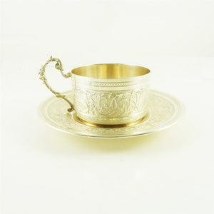 Antique French Sterling Silver Cup & Saucer Coffee, Eugène Roussel Dourtre - 43 Chesapeake Court Antiques