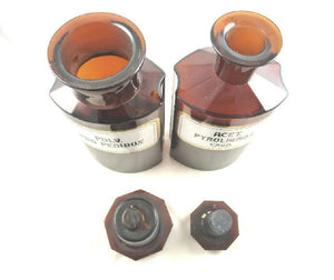 Antique Apothecary Bottles or Pharmacy Jars, Set of Two Amber with Enameled Labels - 43 Chesapeake Court Antiques