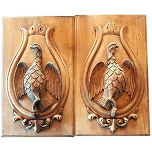 Antique Pair Carved Wood Panels with Sporting Theme, Game Birds - 43 Chesapeake Court Antiques