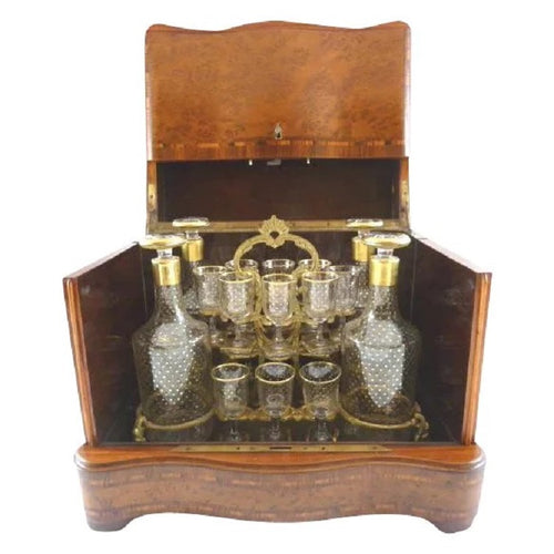 Superb Antique French Cave a Liqueur, Tantalus Liquor Box, Decanters & Glasses - 43 Chesapeake Court Antiques