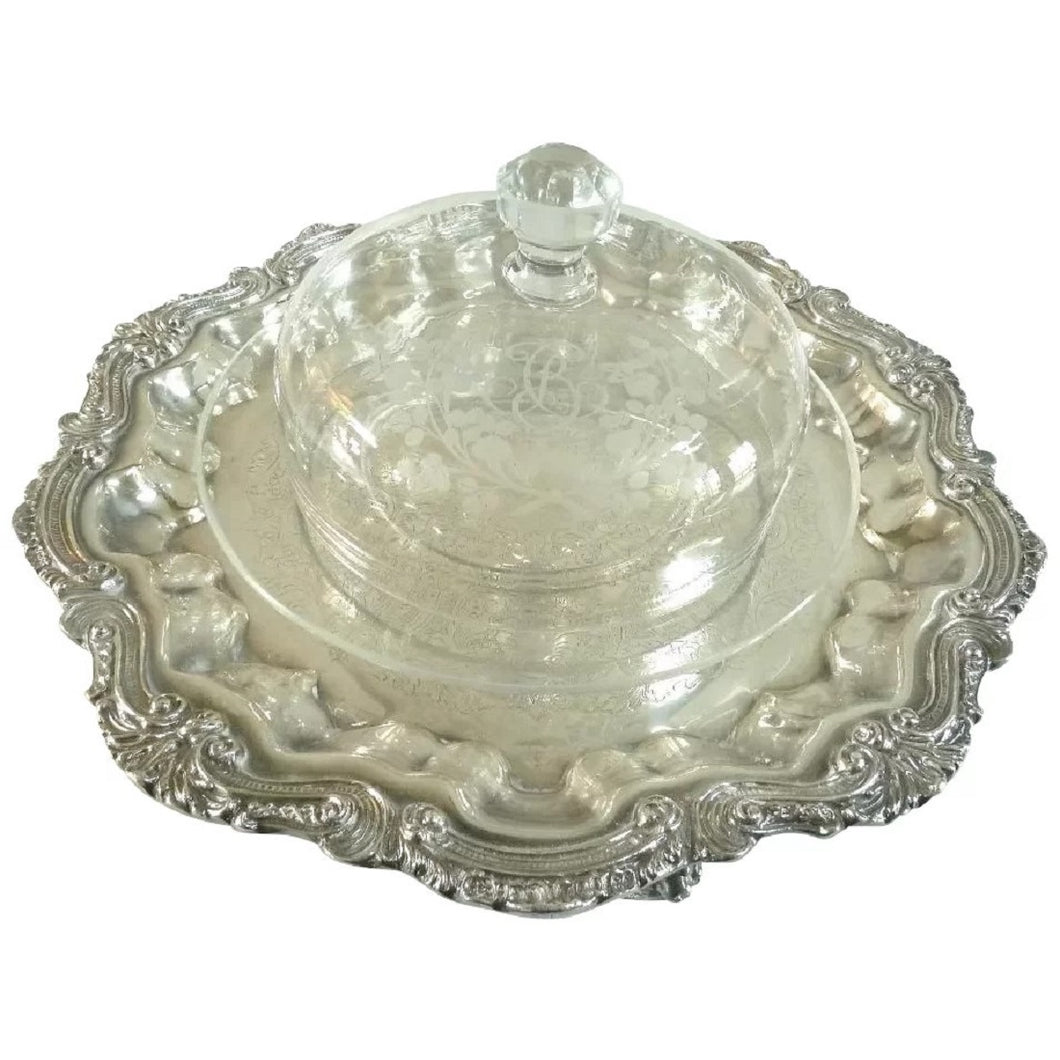 Antique Baccarat Crystal Cheese Bell Dome with Platter - 43 Chesapeake Court Antiques