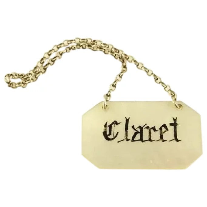 Antique Wine Label or Ticket for Claret, Mother of Pearl - 43 Chesapeake Court Antiques