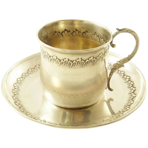 French Sterling Silver Cup & Saucer, Antique Demitasse Set - 43 Chesapeake Court Antiques