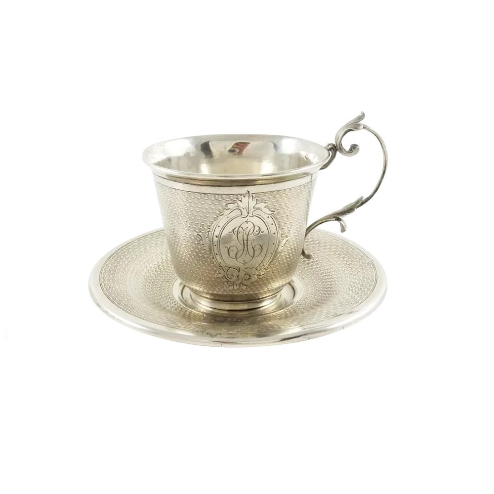 Antique French Sterling Silver Cup & Saucer, Demitasse Size - 43 Chesapeake Court Antiques