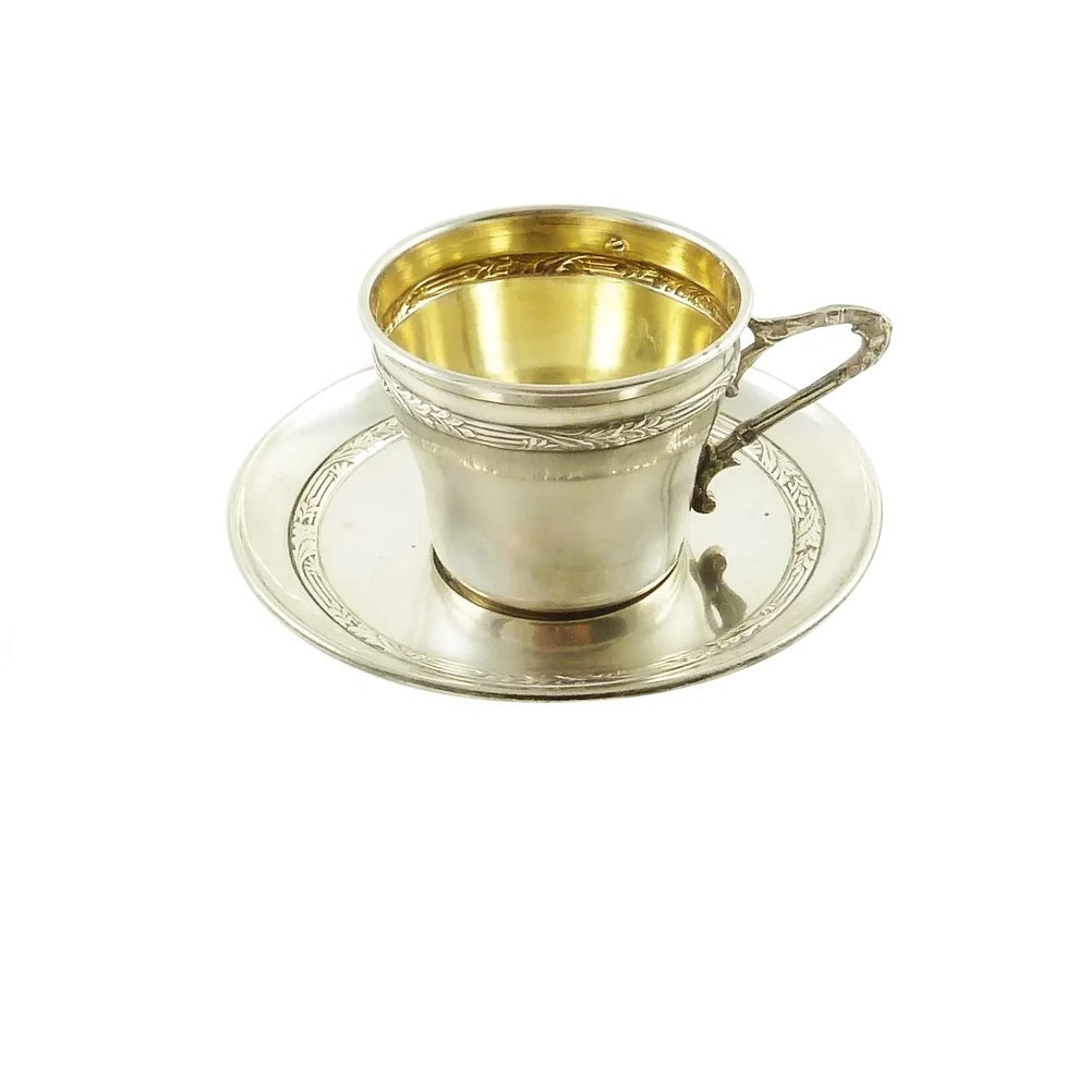 Antique French Sterling Silver and Gilt Cup & Saucer - 43 Chesapeake Court Antiques