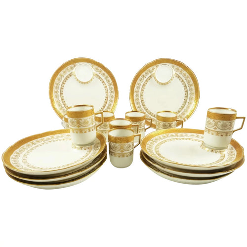 Antique Porcelain Dessert Plates & Demitasse Cups, C 1890 White with Gilt Trim - 43 Chesapeake Court Antiques