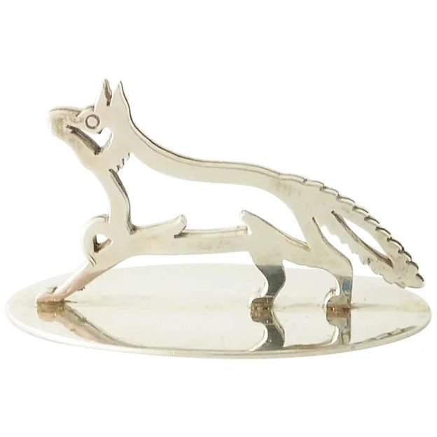 Antique Sterling Silver Menu or Place Card Holder, Fox Equestrian Interest - 43 Chesapeake Court Antiques