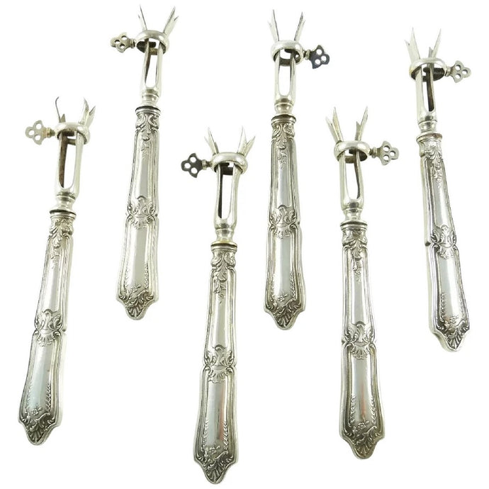 Antique French Sterling Silver of Lamb Cutlet Holders, 'Manches à Cotelettes' - 43 Chesapeake Court Antiques