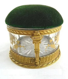 French Box Bronze Dore  Antique French Pin Cushion,  Hand Painted Gilt Details - 43 Chesapeake Court Antiques