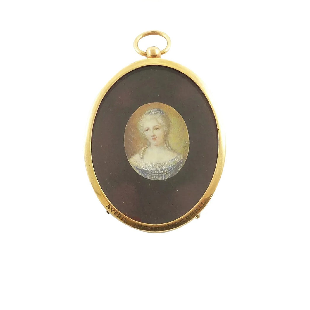 Antique French Miniature Portrait of a Lady, 19th Century, Oval Gilt Frame - 43 Chesapeake Court Antiques