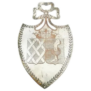 Antique French Plaque Shield Shaped Silver over Copper with Crown and Armorial Crest Architectural - 43 Chesapeake Court Antiques
