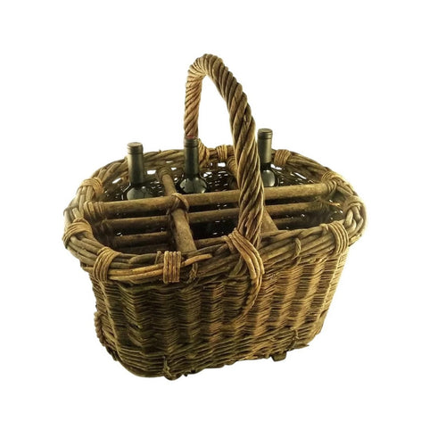 Antique French Provincial Wicker Wine Basket or Carrier - 43 Chesapeake Court Antiques