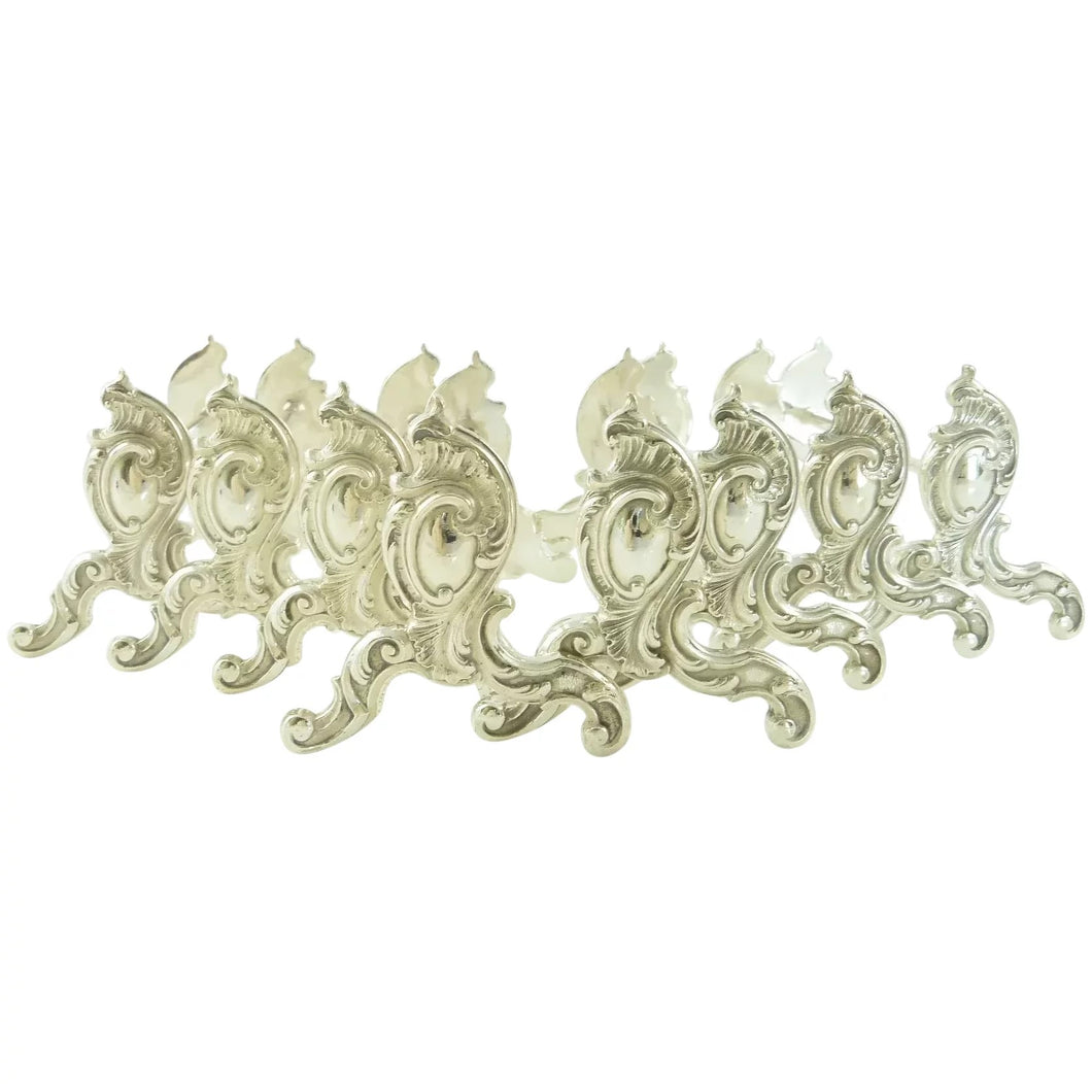 French Silver Plate Dinner Knife Rests Set of Eight, Louis XV Style - 43 Chesapeake Court Antiques