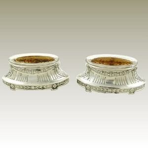 Antique French Sterling Silver Salt Cellars, Pair with Crystal Liners & Gilt Interiors - 43 Chesapeake Court Antiques