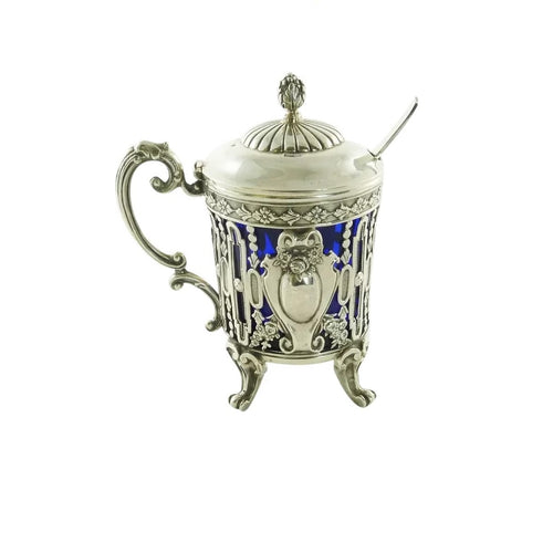 Antique French Sterling Silver Mustard Pot with Cobalt Liner & Spoon, Edmond Tetard - 43 Chesapeake Court Antiques
