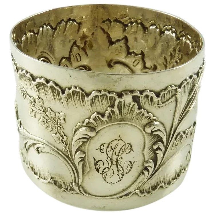 Antique French Sterling Silver Napkin Ring Floral Louis XVI Style - 43 Chesapeake Court Antiques