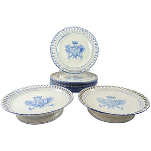 French Faience Pottery Set by Emile Galle, Eight Plates & Two Compotes c1900 - 43 Chesapeake Court Antiques
