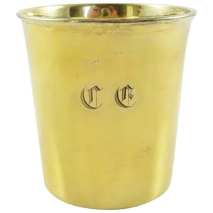 Antique French Sterling Silver & Vermeil Timbale, Late 19th C, Beaker or Cup - 43 Chesapeake Court Antiques
