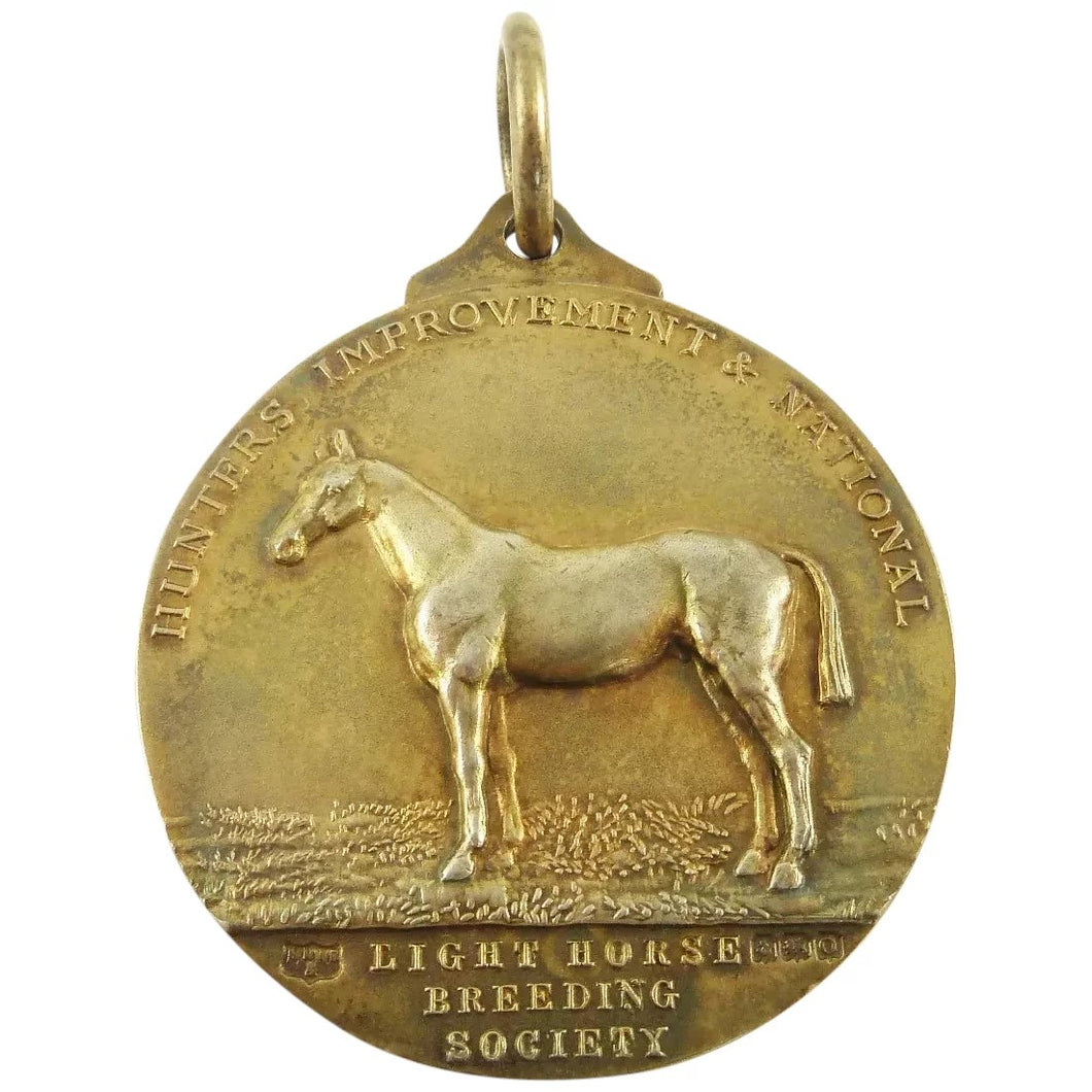 Antique Sterling Silver & Vermeil Medal Watch Fob, Marked For The Light Horse Breeding Society - 43 Chesapeake Court Antiques