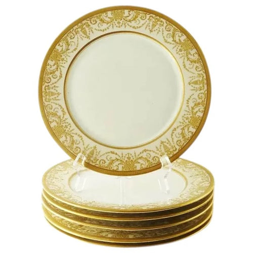 Antique Porcelain Service or Under-Plates, Thick Gold Encrusted Raised Work - 43 Chesapeake Court Antiques