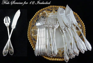 Antique French Sterling Silver & Mother of Pearl Flatware Set, 130 Pieces - 43 Chesapeake Court Antiques