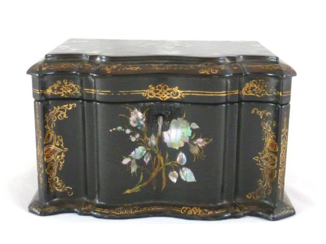 Antique Papier Mache Tea Caddy Mother of Pearl Abalone Inlay C. 1850 - 43 Chesapeake Court Antiques