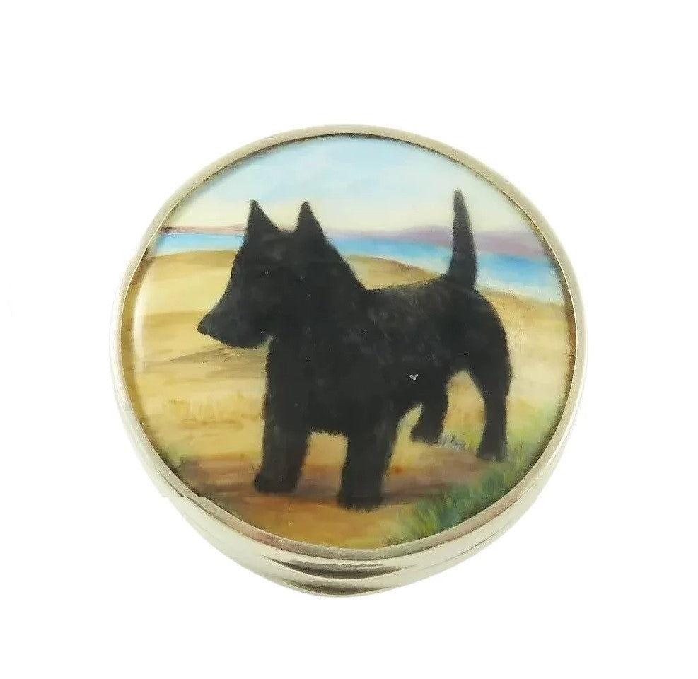English Sterling Silver Pill Box with Enamel Painting of a Dog - 43 Chesapeake Court Antiques