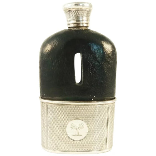 Antique English Sterling Silver Leather Hip Flask, Removable Cup, Family Crest - 43 Chesapeake Court Antiques