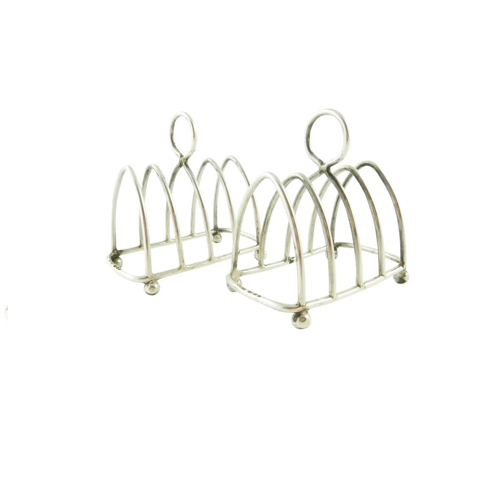 Pair of English Sterling Silver Toast Racks, George V - 43 Chesapeake Court Antiques