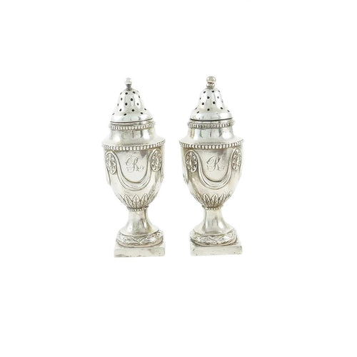 Antique Sterling Silver English Pepperettes, Castor or Shakers, A Pair  -  43 Chesapeake Court Antiques