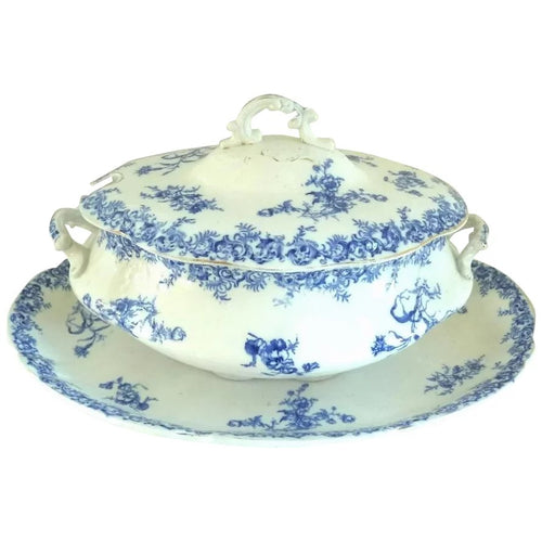 Antique Wedgwood Porcelain Blue and White Soup Tureen & Underplate - 43 Chesapeake Court Antiques