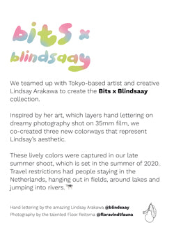 bitsxblindsaay card backside: Any order of 3 Bits x Blindsaay undies comes with a postcard