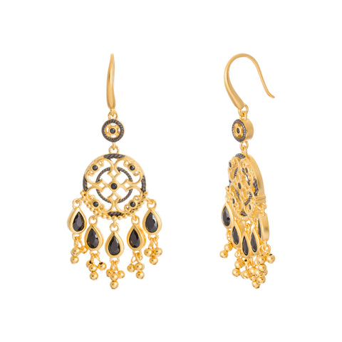 Black CZ Beaded Filigree Drop Earring