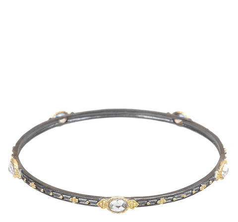 Multi Faceted Beaded Textured Bangle