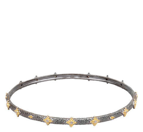 Multifaceted Beaded Textured Bangle