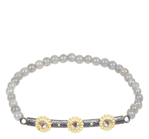 Triple-Faceted Beaded Flower Bar Labradorite Stretch Bracelet