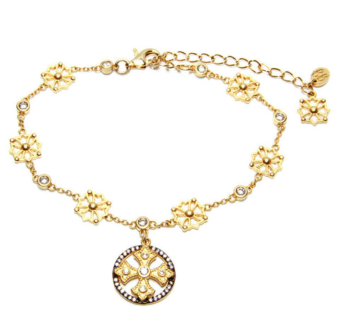 Fancy Cross CZ Drop Chain Bracelet