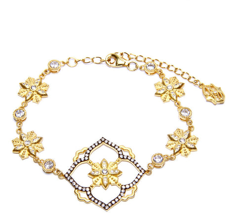 Fancy Open Floating Flower Chain Bracelet