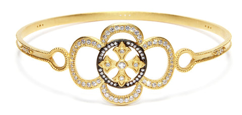 Fancy CZ Cross Bangle Bracelet