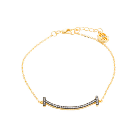 CZ Curved Bar Chain Bracelet