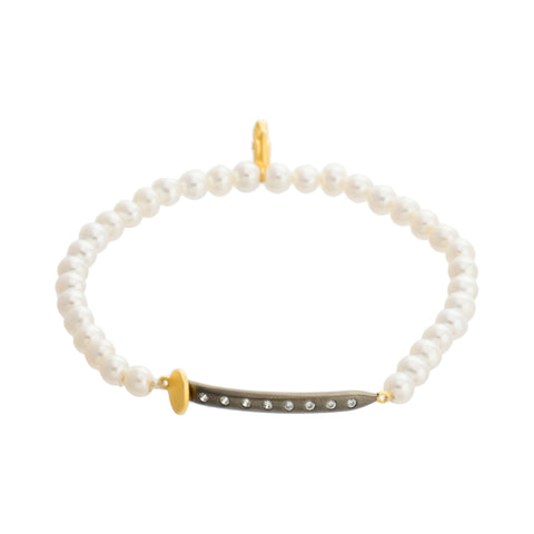 Modern Freshwater Pearl Nail Stretch Bracelet. Glam with a Seductive Edge.