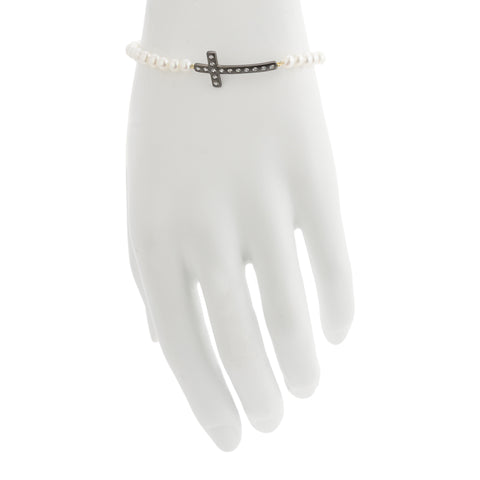 Modern Freshwater Pearl Cross Stretch Bracelet. A Sophisticated Design that will turn heads.