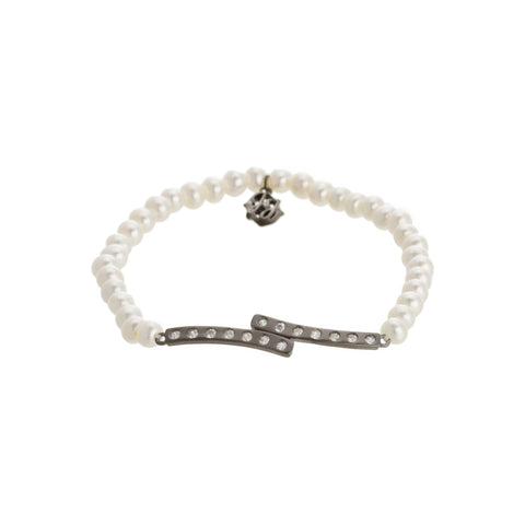 Moder Freshwater Pearl Bezel Double Curved Bar Stretch Bracelet. Mix with your favorite stackable for a unique look.