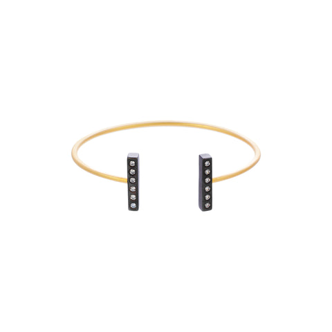 Moder Bezel Double Bar Cuff. Add a Little Glam to your Everyday Look.
