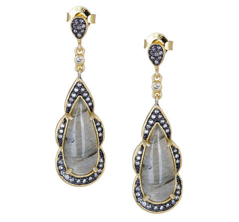 Fancy Labradorite and CZ Teardrop Post Earring