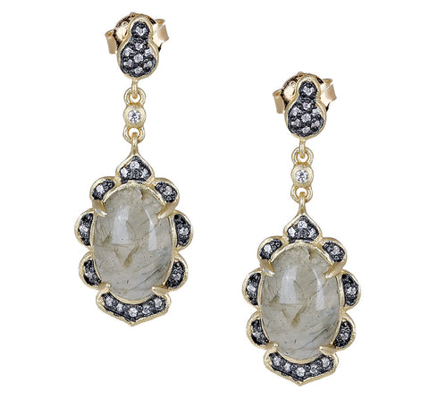 Fancy Oval Labradorite CZ Post Drop Earring