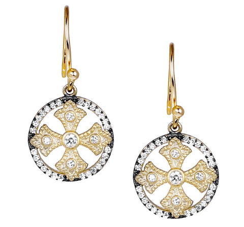 Fancy Cross CZ Drop Earring